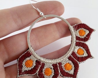 Embroidered by hand, hoop earrings silver, Burgundy and Orange.