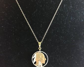 U.S. Indian Nickel with Golden Feathers Cut Coin Necklace