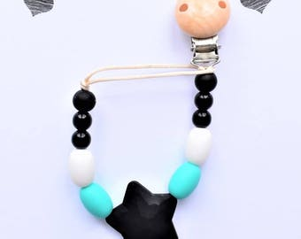 Pacifier teething (wood/silicone) Pacifier clip