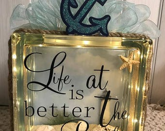 Glass Glow Box - Life is Better at the Beach (Anchor)