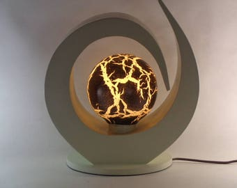 abstract lamp from wood and fiberglass from Bali,  Great accent piece