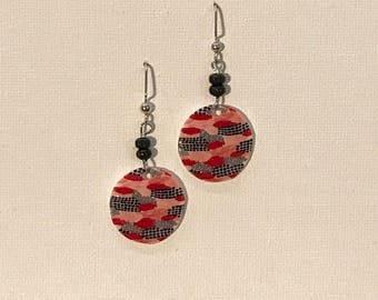 Red Asia Small Circle Earrings