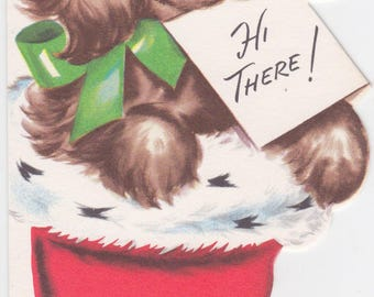 1950s Christmas card with puppy illustration for children