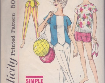 Vintage 1960s sewing pattern -- pants, shorts and top size subteen 12s