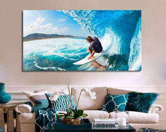 Surfing Wall Art Surfing Canvas Print Surfing Large Wall Decor Surfing Canvas Art Surfing Painting Surfing Poster Print Surfing Home Decor
