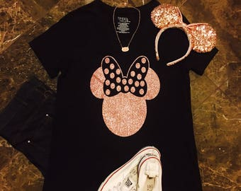 Disney Shirt/ Rose Gold Minnie Mouse