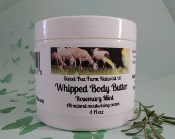 Essential Oil Whipped Body Butter-Rosemary Mint-All natural with rosemary and peppermint essential oil