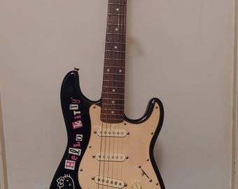 Ltd Edition Fender Squier Hello Kitty Mini Stratocaster Electric Guitar - Black