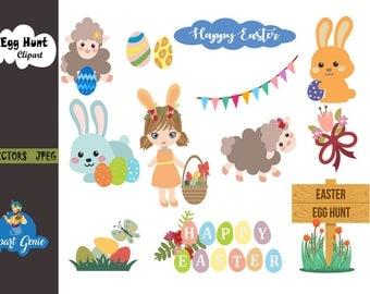 Easter egg hunt Clipart,Bunny Clipart,Easter Basket Clipart,Easter Bunny Clipart,Easter egg clipart,Easter Clipart,rabbit clip art,egg hunt