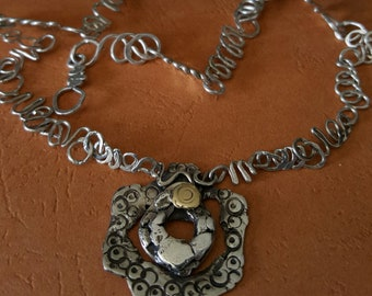 Curly Fine Silver Necklace with Sterling Silver Pendant Handmade