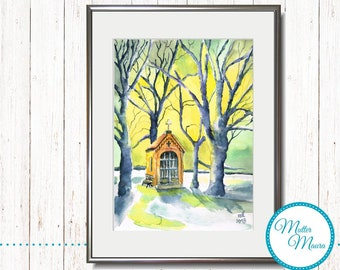 "Watercolor ""The Little Chapel"" original painting"