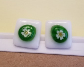 Fused glass stud earrings with green flower