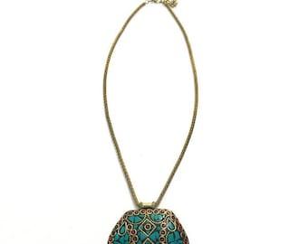 Mosaic artisan turquoise necklace
