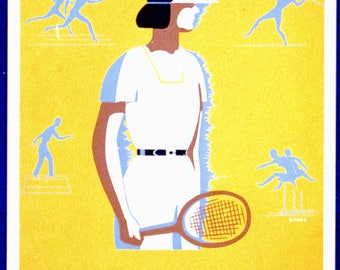 Field Day - Tennis - Vintage poster reproduction - Graphic design art print - Retro decor - A4, A3 and A2 sizing - free postage in Australia