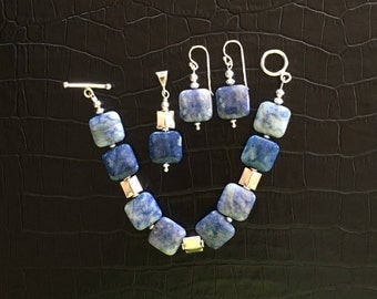 blue agate and sterling silver jewelry set