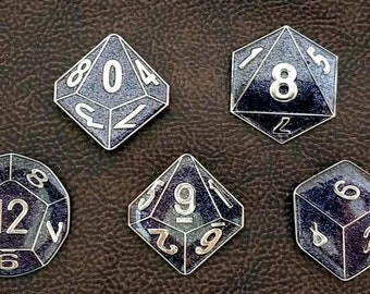 RPG Gamer Polyhedral Dice Enamel Pins-Set of 7 - Black