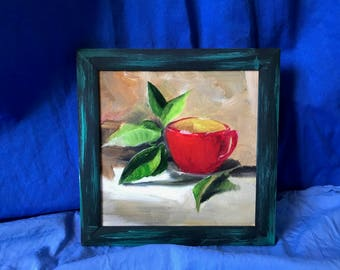 20x20 original oil on canvas / red cup still life / square framed kitchen wall art / red and green wall decor / gift for mom / parents gift
