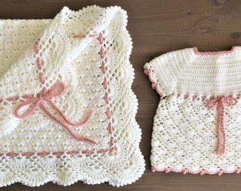 Handmade crochet baby girl dress and blanket set ( white with dusty pink)