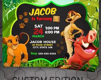 Lion King Invitation, Lion King Birthday, Lion King Invite, Lion King Party, Timon Pumba Simba Invitation
