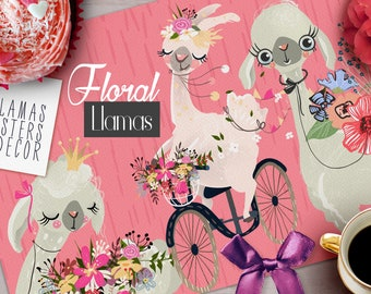 Floral Llamas Digital Clipart