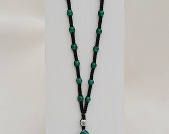 Green Agate Shamballa Style Necklace