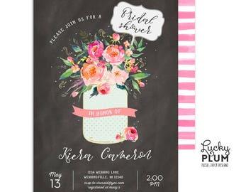 Mason Jar Rustic Floral Bridal Shower Invitation / Garden Bridal Shower Invitation / Chalkboard Bridal Shower Invitation / Spring Floral