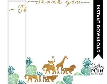 Safari Thank You Note Card / Animal Thank You Note Card / Jungle Thank You Note Card / Elephant Giraffe Lion Monkey *Printable SF01