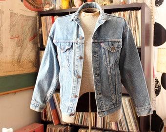 80s 90s Vintage Levis jacket . acid stone wash denim, womens large xl jean jacket . SEE MEASUREMENTS