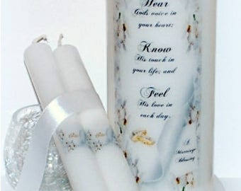 Christian wedding candle blessing, May you hear God's voice, handmade wedding unity candle keepsake, personal unity candle set under the wax