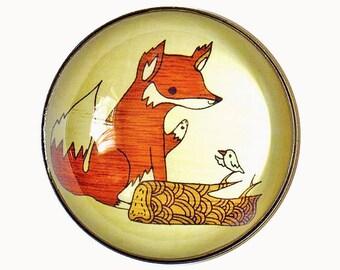 animal fridge magnet, rustic fox refrigerator magnet, teacher gift idea, glass magnets large, fall home decor, autumn kitchens, boygirlparty