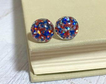 Fun Sparkling Glitter Resin 4th of July Patriotic Independence Day Holiday Stud Earrings with Surgical Steel Posts Red White and Blue