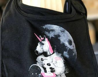 Astronaut Unicorn Bib: Cute Unisex Bib, Funny Baby Bib, Fun Baby Clothes, Screen Printed Bib, Newborn Gift, Roller Skating Unicorn