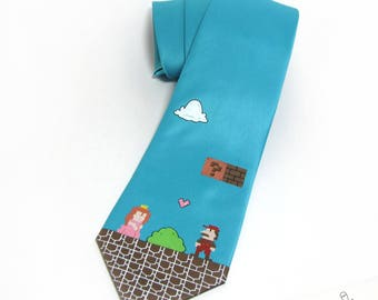Hand-Painted Super Mario Necktie