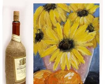 Yellow Daisy, Oranges, Original Painting, Flower Painting, Fruit Painting, Still Life Painting, Pink Vase, Home Decor, Wall Art, Winjimir,