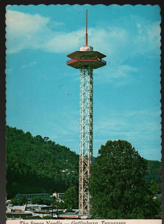 The Space Needle + Gatlinburg, Tennessee  + Vintage Souvenir Postcard