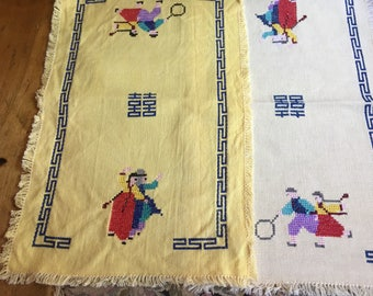 Vintage Table Runners Dresser Scarf Scarves, Frayed Edges, Embroidery, Greek Key Design, Cross Stitch People Almost Matching