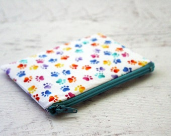 Paw print pouch - animal lovers gift - cute zipper pouch - small wallet - rainbow change purse - zippered bag - dog lovers gift