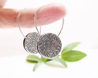 Sterling Silver Earrings Round Earrings Circle Earrings Dangle Earrings Tapestry Earrings Gifts for Her