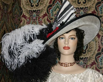 Kentucky Derby Hat Edwardian Ascot Hat Downton Abbey Hat Titanic Hat Curved Brim Hat - Fair Lady - Wide Brim Hat