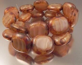 Streaky Ivory Czech Glass Candy Beads, 10 beads