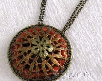 Openwork Pendant, Voronoi-style jewelry, red and antique brass statement necklace