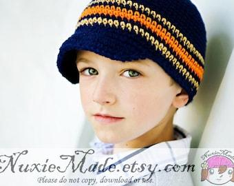 Navy Blue Newsboy, Boys Newsboy, 12-24 months Crochet Hat, Boy Stripes Hat, Toddler Newsboy, Crochet Newsboy, Boys Winter Hat, Boys Hat