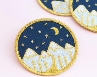 Mountain Embroidered Patch | Iron on patch, patches