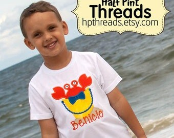 CUSTOM ORDER: Crab in Beach Bucket Summertime Personalized Embroidered Appliqued Shirt or Bodysuit