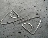 Parabola, geometric silver earrings, modern silver hoops,  graphic edgy earrings