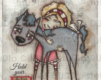 Print of my Original Whimsical Mixed Media Girl and Horse Painting - Hold Your Horses