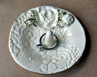 Ceramic Rose and lace Ring Holder Bowl OFF WHITE with Gold edging