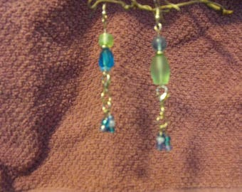 Sea glass mixed glass earring detachable bead tassle contrasting design two in one