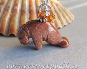 Cornerstoregoddess Goldstone Sea Cow Dugong Manatee Charm Pendant