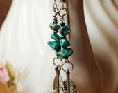 Turquoise Chip and Silver Tone Feather Boho Gypsy Dangle Earrings
